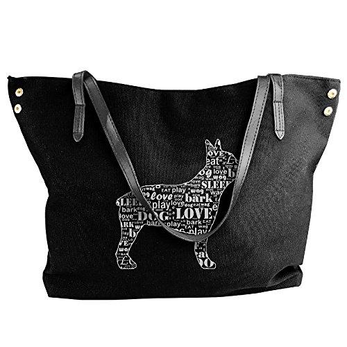 - Women's Canvas Large Tote Shoulder Handbag Boston Terrier Dog Silhouette Messenger Hobo Bag Tote