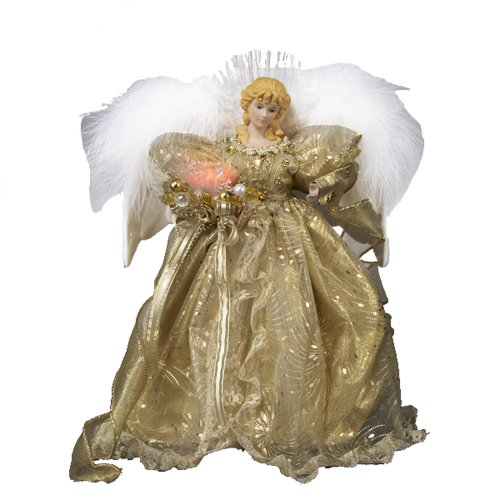 Kurt Adler 12-Inch Fiber Optic Gold Angel Tree
