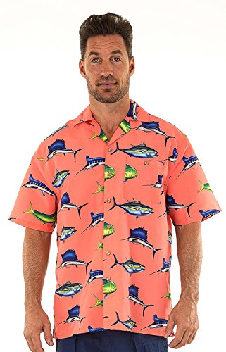 UZZI Men's Hawaiian Casual Button Down Short Sleeve Shirt Swordfish Design (Medium, Coral) (Design Shirt Fish)