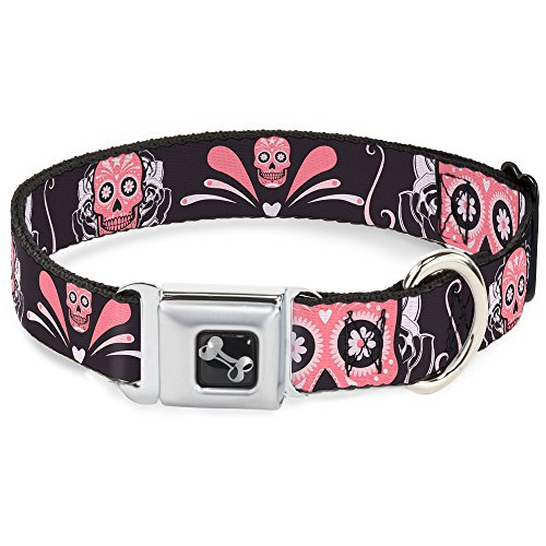 (Dog Collar Seatbelt Buckle Sugar Skulls Gray Pink 9 to 15 Inches 1.0 Inch Wide)