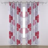 Deconovo Drapery Panels Blackout Leaf Printed Blackout Curtain Drapery Panels with Grommet 52 x 84 Inches Red 2 Pannels Review