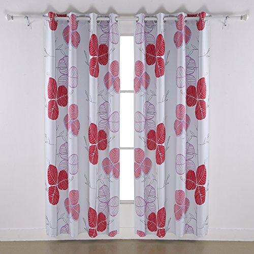 Deconovo Drapery Panels Blackout Leaf Printed Blackout Curtain Drapery Panels with Grommet 52 x 84 Inches Red 2 Pannels (Window Pannels)