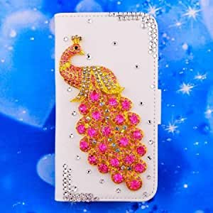 Bloutina 1X NE3C(TM) Apple iPhone 5 5G 5S 5th crystal peacock Leather Folio Support Smart Case Cover With Card Holder &...