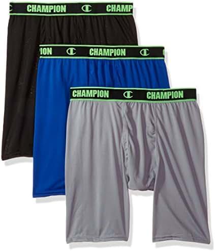 Champion Men's Active Performance Long Boxer Brief Black/Concrete