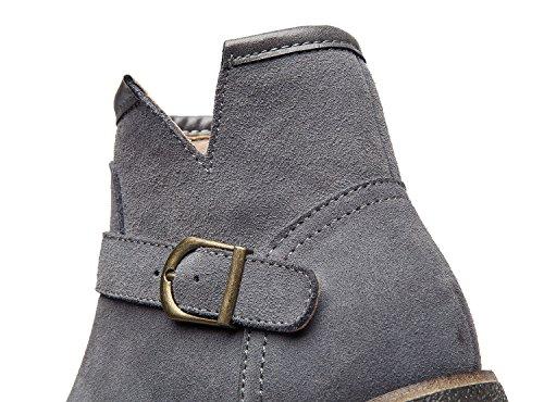 a751a882894b ... uBeauty Damen Stiefel Flache Boots Klassischer Stiefeletten Schnüren  Freizeitschuhe Grau B