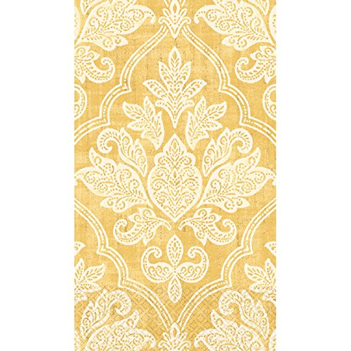 Amscan Damask Guest Paper Towels , 192 Ct., Gold, 8'' x 4''
