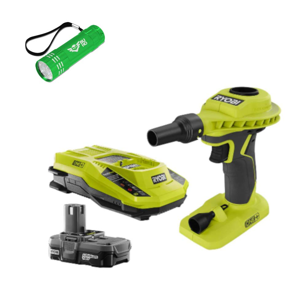 Ryobi P738 High Volume Air Inlfator Bundle; 18-Volt ONE+ Lithium-Ion Cordless Power Inflator with (1) 1.3 Ah Battery and (1) 18-Volt Charger and Buho Flashlight