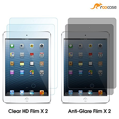 iPad Mini Screen Protector, Apple iPad Mini 2 Screen Protector, iPad Mini 3 Screen Protector, (4 pack) 2 High Definition HD Clear 2 Anti Glare Film, rooCASE Vaule Pack Easy Install, Lifetime Warranty (Screen Touch Plastic)