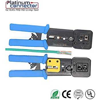 RJ45 Professional Heavy Duty Crimp Tool by Platinum Connector for pass through and legacy connectors