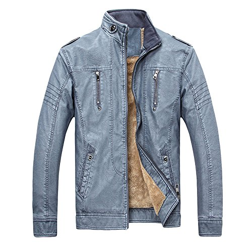 YIMANIE Men's Vintage Stand Collar Faux PU Leather Jacket Casual Motorcycle Leather Jacket Coat