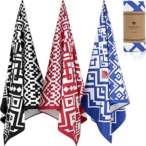 FAFANCY Mens Oversized Microfiber Beach Towel - Best Lightweight Large Fast Drying Towel - Thin Sandfree Beach Towel - XL 63x35 Pool Swim Towel for Men Women (Ocean Blue)
