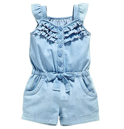 OWIKAR Baby Girls Rompers Lace Denim Vest Shorts Boat Neck Summer Dress For Age 1-6 (2T-3T)