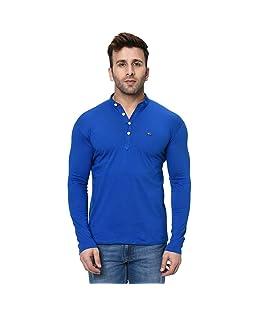 Fashitude Men's Solid Mandarin Collar Full Sleeve T-Shirt (Medium, Royal Blue)