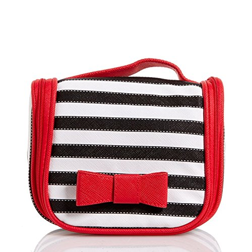 KENNETH COLE REACTION Hanging Organizer Makeup/Toiletry Bag with Bonus Travel Bottle ((Red, White & Black)Hanging Makeup/Toiletry Bag)