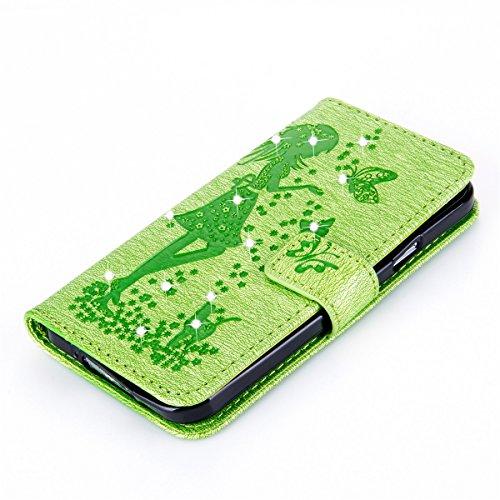 Funda Galaxy S5, Funda de brillo Galaxy S5, Lifetrut Sólido Shiny Sparkle Libro de Estilo de Cuero con Ranura para Tarjetas de Cierre Magnético Soporte Funda de Teléfono de la Función con Correa de Mu E203-Verde