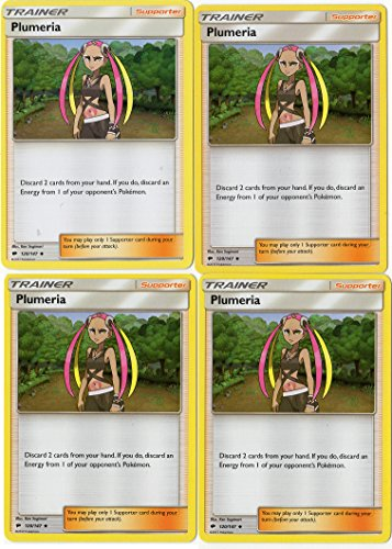 Plumeria 120/147 - Sun Moon Burning Shadows - Trainer Card Set - x4 Supporter Card Lot (Playset) -