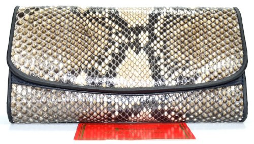 100% Genuine Python Snake Skin Leather Women's Clutch Trifold Wallet New Natural Black & White Genuine Snake Skin Wallet