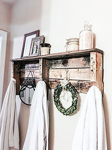 Reclaimed Wood Five Hook Shelf Towel Coat Rack -