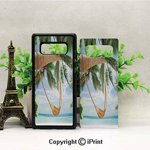 (Galaxy Note 8 Case Heavy Duty Protection Shock Absorption Slim Soft TPU Cover View of Nice Hammock with Palms by The Ocean Sandy Shore Exotic Artsy Print Decorative Pattern for Samsung Galaxy Note 8,)