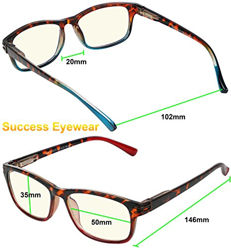 Computer Glasses 2 Pair Anti Glare Anti Reflection Spring Hinge Ombre Color Reading Glasses for Men and Women +1.5 by Success Eyewear (Image #2)