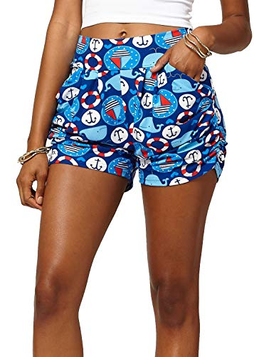 Premium Ultra Soft Harem High Waisted Shorts for Women with Pockets - at Sea - Large/X-Large (12-18) - NHS-J307-LX