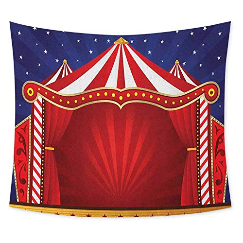 jecycleus Circus Psychedelic Tapestry Hippie Canvas Tent Circus Stage Performing Theater Jokes Clown Cheerful Night Theme Tapastry Wall Art for Living Room W62.8 x L62.8 Inch Blue Vermilion (Best Canvas Tents Australia)