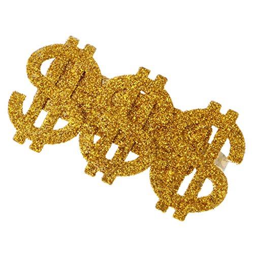 Gangster Rapper Costume (Dovewill Glitter Gold 3 US Dollar Signs Ring Men's Party Costume Hip-hop Rapper Big Daddy Dress Up)