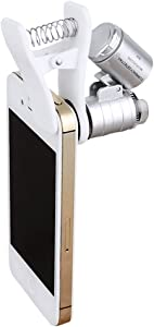 Cellphone Clip On Microscope Mini 60X Magnifying Lens with LED/UV Lights Cell Phone Lens Attachment for Currency Detector Biological Antiques Precision Parts Fits for iPhone Samsung More Smartphones