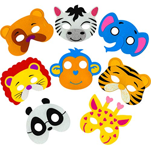 Little Seahorse Zoo Animal Masks for Kids Party - 8 Assorted Felt Masks, Birthday Parties Supplies
