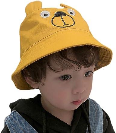 WDOIT - Sombrero de algodón para niños y niñas, reversible, gorro de verano plegable, gorro de playa para niños y niños pequeños Amarillo amarillo 52 cm: Amazon.es: Ropa y accesorios