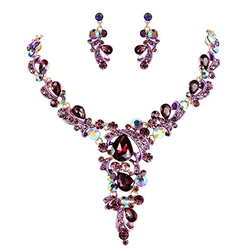 - BriLove Wedding Bridal Necklace Earrings Jewelry Set for Women Crystal Leaf Vine Teardrop Hollow Statement Necklace Dangle Earrings Set Deep Amethyst Color Gold-Toned