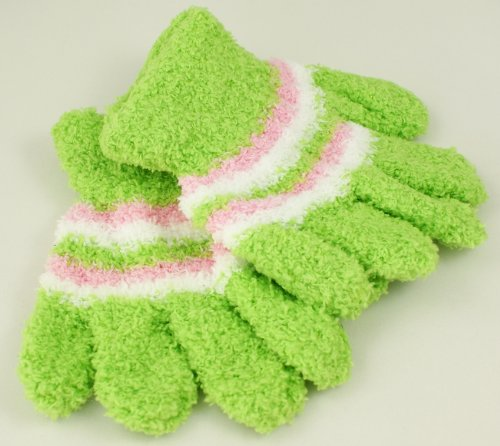 Brand New Awesome Kids Winter Striped Magic Gloves-vibrant Green