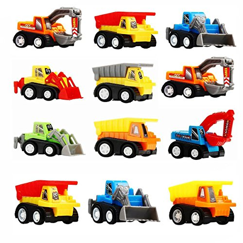 Friday Toys 3-5 Year Old Boys, Mini Toy Cars 3-6 Year Old Boys 12 Pack Construction Pull Back Cars Christmas Best Gifts Stocking Stuffer 3-6 Year Old Boys Halloween FDUSC12C