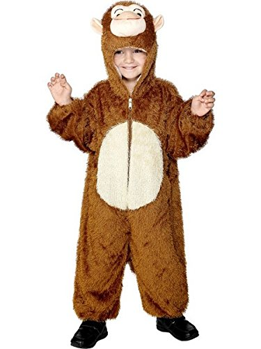 [Smiffy's Children's Unisex All In One Monkey Costume, Jumpsuit with Hood, Party Animals, Ages 7-9, Color: Brown and White,] (Child Monkey Costumes)