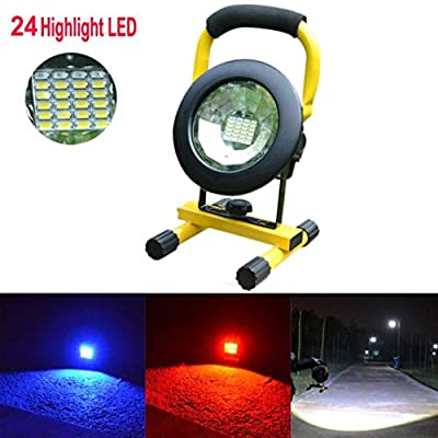 Creazy 30W 24 LED Portable Rechargeable Flood Light Spot Work Camping Fishing Lamp
