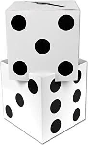 "Beistle Three Dimensional Dice Stacking Centerpiece Casino Party Decorations, 17"" x 9"", White/Black"