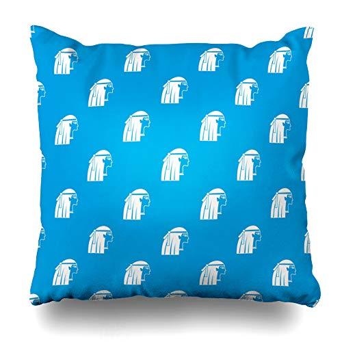 (Ahawoso Throw Pillow Cover Pillowcase Gold Arabic Egyptian Girl Pattern Blue Ancient Brunette Care Cleopatra Dress Design Home Decor Square 16x16 Zipper Cushion)