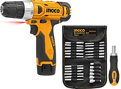 Ingco Heavy Duty Cordless Screw Driver With Ingco 26 in 1 Screw