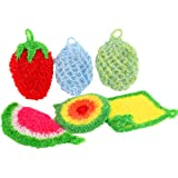 kilofly 6pc Fruit Dish Scrubber Rags Kitchen Dishwashing Sponge Washcloth Pack