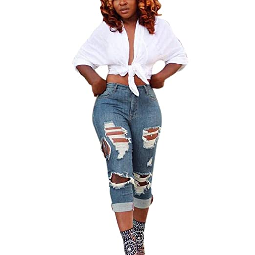 b392db00e3 Kehen Fashion Women s Ripped Boyfriend Jeans Stylish Pants Slim Fit Casual  Ripped Holes Stretch Trendy Jeans