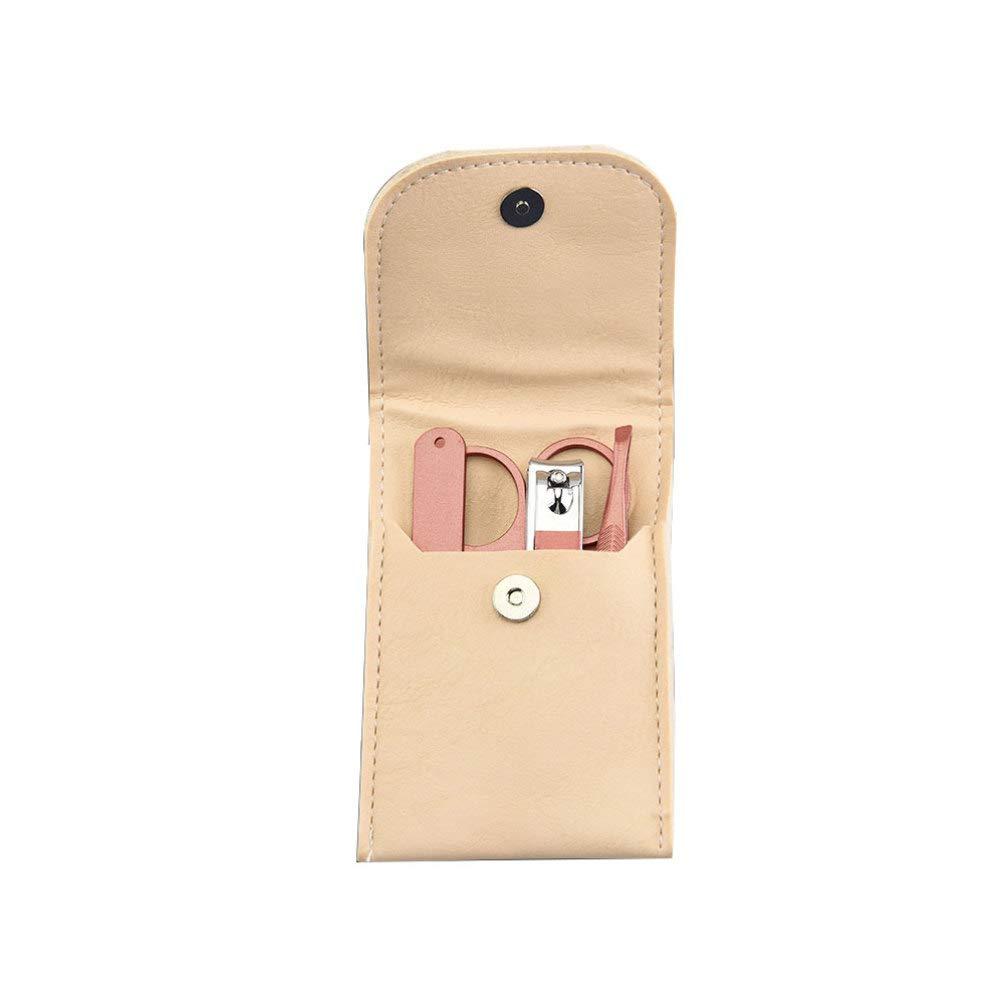 Minkissy Nail Clipper Set, 4pcs Travel Nail Care Kit with PU Bag Fingernail Clipper, Pedicure Toenail Trimmer, Nail File, Tweezers, Manicure Scissors
