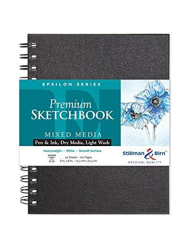 Stillman & Birn Epsilon Wirebound Sketchbook, Heavyweight 100lb, Natural White, 50 Sheets, 6x8