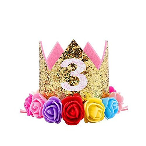 Ipalmay Baby Princess Glitter Gold Crown, 3st Birthday Party Hat Gold with Mix Rainbow Color Flowers