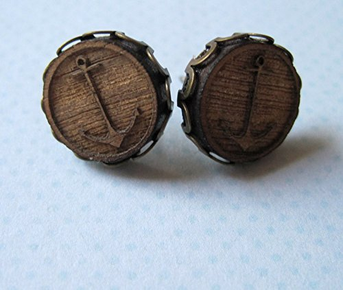nautical-anchor-wood-stud-earrings-antiqued-gold-tone