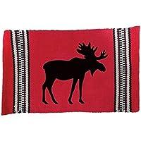 Virah Bella Northwoods Moose Cotton Area Rug 24x36 (Red and Black)