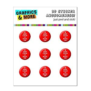 Keep Calm And Rock On Music Guitar Home Button Stickers Fit Apple iPhone (3G, 3GS, 4, 4S, 5, 5C, 5S), iPad (1, 2, 3, 4, mini), iPod Touch (1, 2, 3, 4, 5)