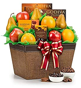 GiftTree Fresh Fruit and Godiva Chocolates Gift Basket | Includes Gourmet Chocolates and Confections from Godiva, Fresh Pears, Crisp Apples, Juicy Fresh Oranges in a Keepsake Woven Linen Container