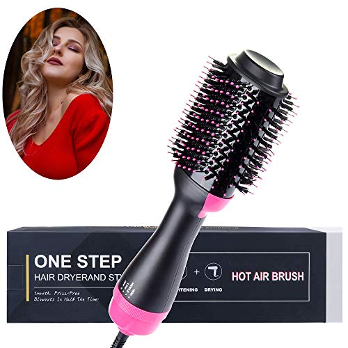 Hot Air Brush Negative Ions Hair Dryer Brush 3-in-1 One Step Hair Dryer for Straight/Curly All Hairstyles Men or Women Anti-Frizz Reduce Static (Pink)