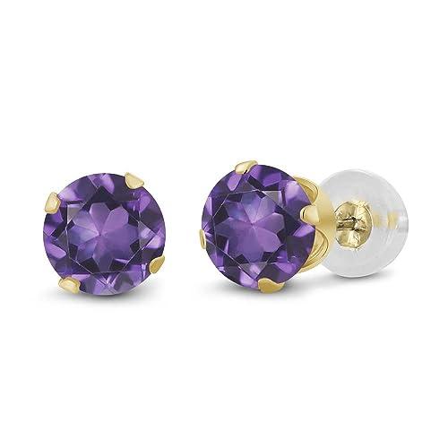 Gem Stone King 14K Yellow Gold Purple Amethyst Gemstone Birthstone Stud Earrings 0.90 Cttw, Round 5MM