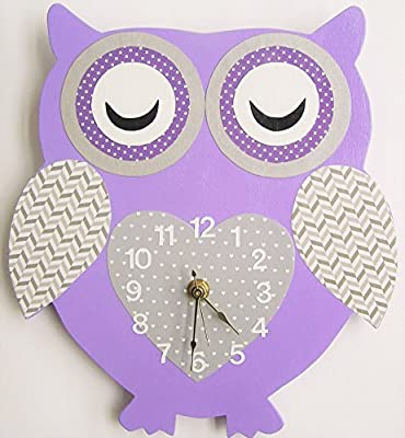 Nursery Wall Clock, Nursery Owl Clock, Hanging Owl Clock, Children's Room Wall Clock, Owl Wall Clock, Kid's Room Owl Wall Clock (Lavender/grey)